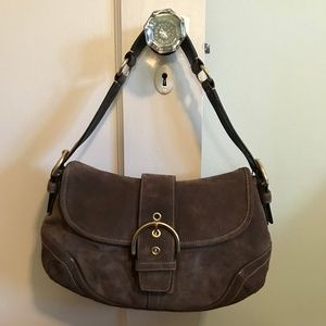Coach Olive Brown Soho Suede Flap Bag